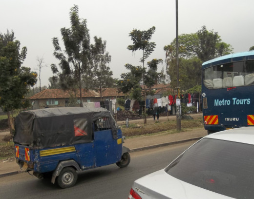 Residents of Kenyan cities are also subjected to the Tuktuk (three wheeled scooter) as quick alternative transport!