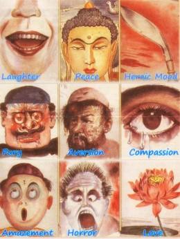 Nava Rasa: The Nine Moods as depicted by Nepali writer,poet and artist Sama; newspaper clipping scanned by Vinaya