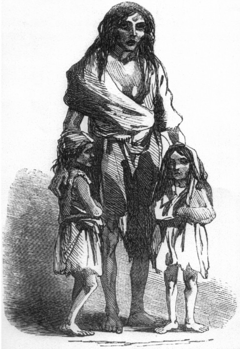 Sketch of a family evicted from their home during the potato famine in Ireland.