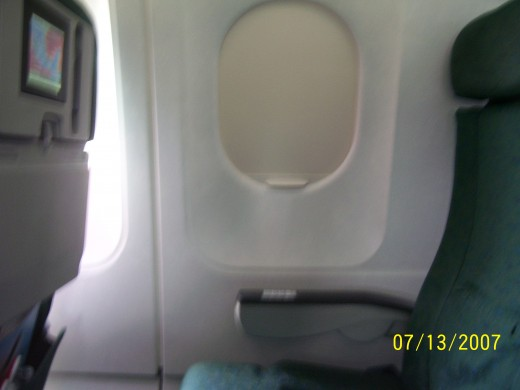 Frontier's window seat and personal TV. Sorry for the blur.