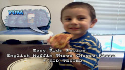 How to Make Three Cheese English Muffin Pizzas - Easy Recipe for Toddlers & Kids