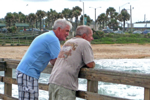 The last time David and I were together at Flagler Beach Pier, July 2012. David is in the blue shirt.