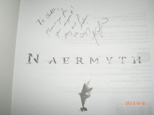 "Book Signing | Filipino author Karen Francisco's signature on her book ""Naermyth"" A myth is believed to be just a product of imagination in Philippine culture, but the book presents it otherwise."