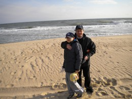 Ed (Pre-Emily) with son Matty at Robert Moses Beach