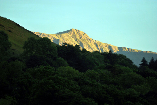 Cadair Idris, or Idris' Mountain, sear of the god of poetry, philosophy and learning - a giant druid?  View from Heulwen in the Snowdonia National Park (Heulwen is also a personal name meaning 'sunshine'