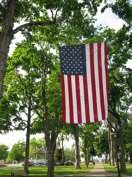 Flag hung for a Memorial Day Parade.