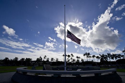 U.S. flag is at half-mast at Atterbury circle at Joint Base Pearl Harbor-Hickam, Hawaii.