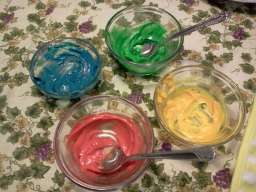 Four different mayonnaise food colors.