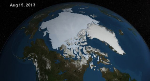NASA satellite photo of Arctic ice taken on Aug. 15, 2013.