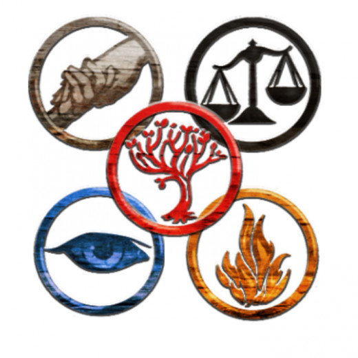 The different factions in Veronica Roth's world all have symbols associated with them. Top left is Abnegation, Candor is top right, Amity is center, Erudite is bottom left, and Dauntless is bottom right.