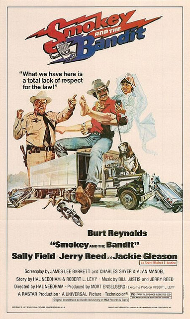 Poster for Smokey and the Bandit with Jackie Gleason and Burt Reynolds
