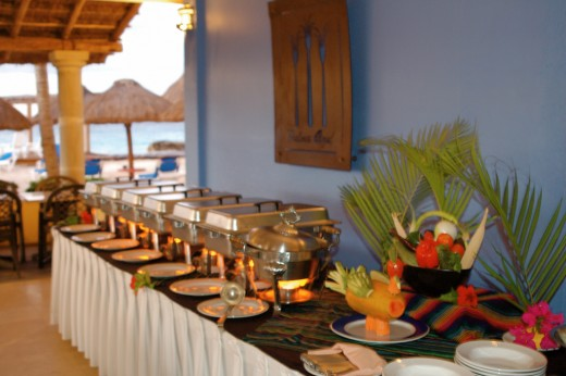 Rehearsal dinner (buffet style) at a destination wedding