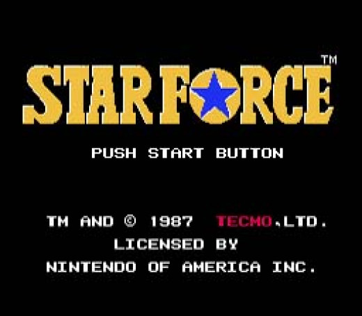 Star Force menu screen on the Nintendo Entertainment System