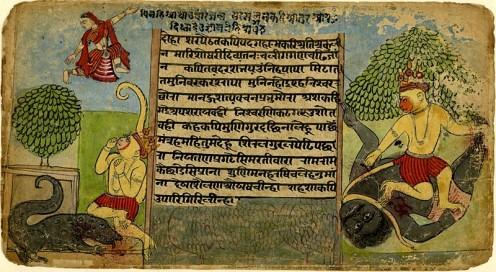 Hanuman demonios matando a cada lado