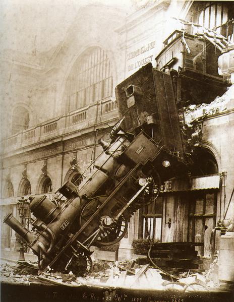 Train wreck, symbol of failure.