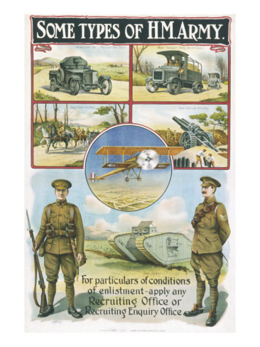Recruitment Poster for Sections of the Army (World War 1) including Air Force