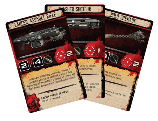 The black numbers are Attack dice rolled (with and without ammo), followed by range. Below, you can see the weapon's special ability. On the bottom, you see what happens when the skull symbol is rolled.