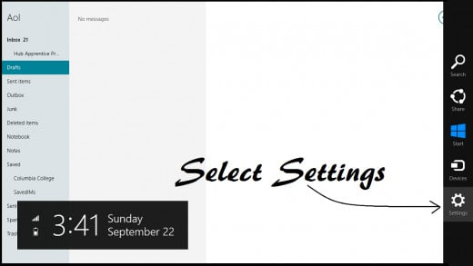 Settings Menu for Mail