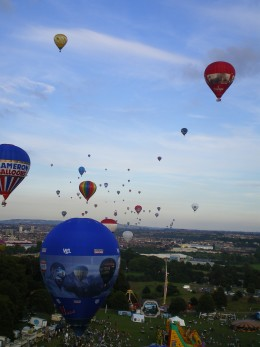 The mass ascent as taken from a balloon.