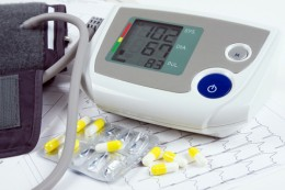 Monitor showing a healthy blood pressure - hypertension reduced by medication.