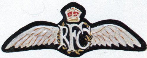 RFC Military Wing breast badge authorised in 1913. A smaller gilt-metal version was worn on dress uniform.