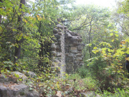 Remains of the original 1790s Robinson Rockhouse, a historic site located within Reedy Creek Nature Preserve