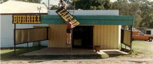 """Don and Jim getting sections of sign into place.... """"I'd give you a hand, boys, but I'm taking the photo..."""""""