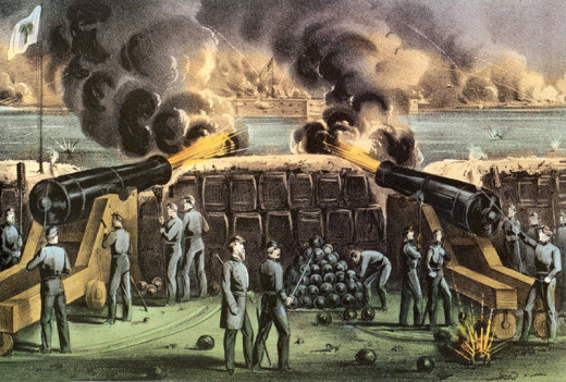 South Carolina artillery bombards Fort Sumter