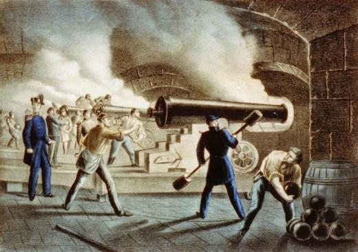 Artillery in Fort Sumter's bottom casemate return fire