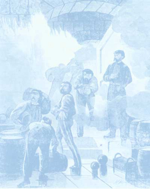 Removal of barrels of gunpowder in the fort's magazine.