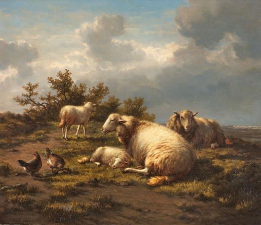 Landschaft mit Schafen und Hühnern by Eugène Joseph Verboeckhoven (1875)