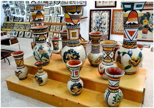 Mosaic pottery on display