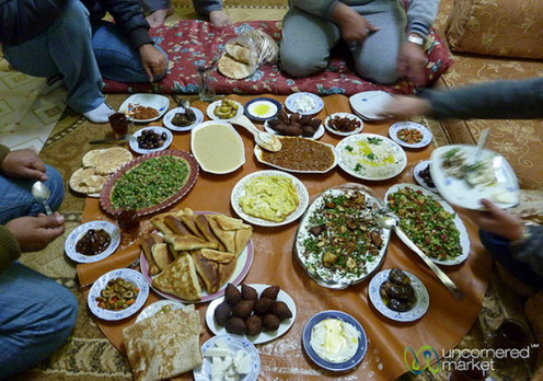 Jordanian food spread on display . an internet picture