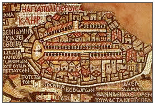 Map of Jerusalem - a portion of the Mosaic map of Holy land- this portion can be seen in the main map