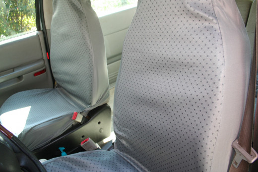 The inexpensive car seat covers purchased for less than $20 in a box of two.