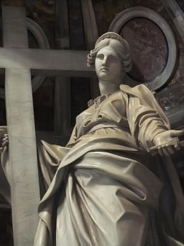 and Helena as saint, shown in this statue of her at St Peter's Basilica, Vatican.