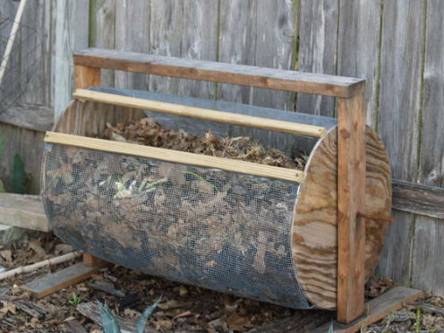 Drum-style composter.  This is probably a great do-it-yourself example.