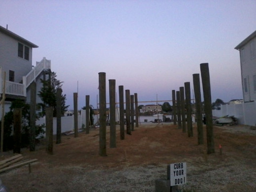 Here are the pilings and the new foundation 10 to 11 feet off the ground for the future home to build on.