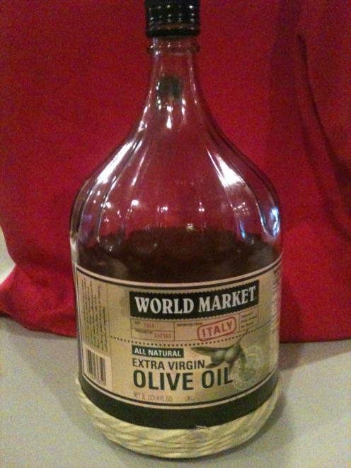 I bought this large container of olive oil and it has lasted me a long time.