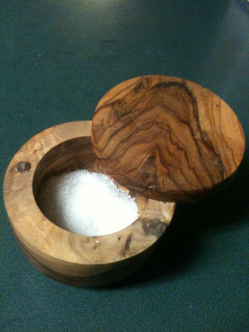 I love to cook and I couldn't resist this really cool olive wood salt container.