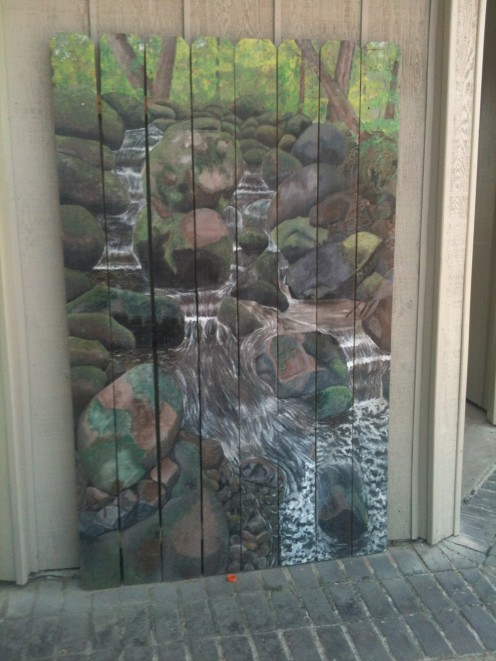 Some more art work that you will find at the park.  This one is painted on boards that look like they might be sections of a fence.