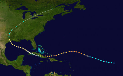 The path of Hurricane Ike, Autumn 2008