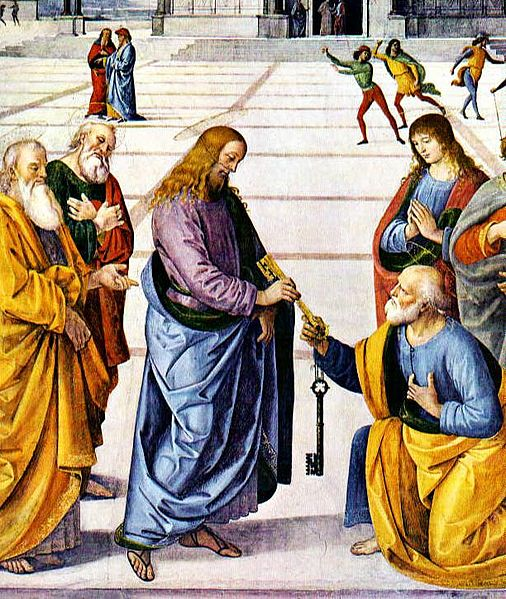 Painting depicting Jesus giving St. Peter, the first Pope, the keys to the Church.