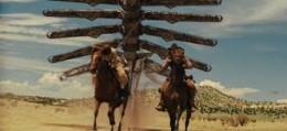 Still taken from Cowboys and Aliens showing the blending of the Western and Science Fiction genres.