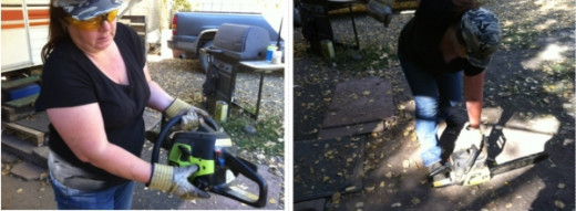 Prime the chainsaw and turn the switch to ON then set it on the ground with your foot through the handle and PULL.