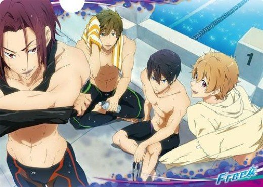 In order from right to left:  Rin, Makoto, Haruka, and Nagisa