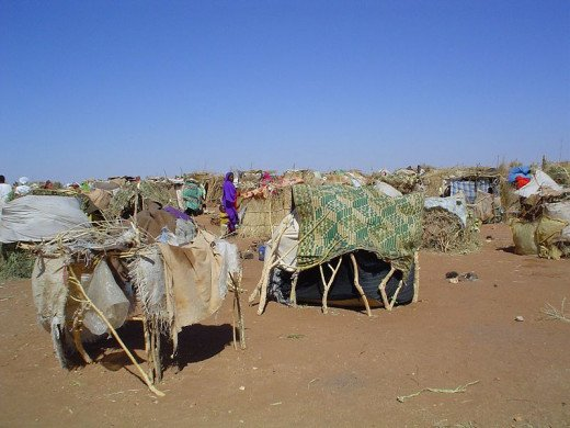 These people were displaced from their homes by the ongoing conflict in Darfur, which arose partly down to recent climate change.