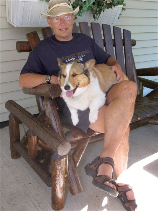Mathematician Dr. Tim Penning and his Welsh corgi