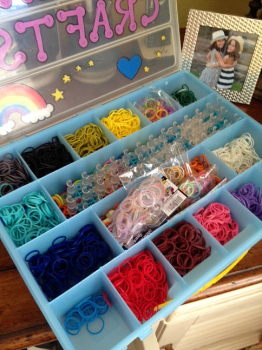 Rainbow Loom and rubber band storage case.