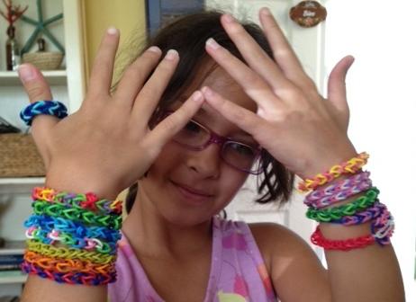 Rainbow Loom bracelets.